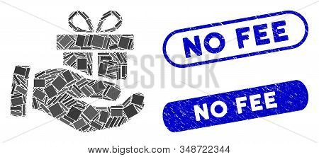 Mosaic Present Box Give Hand And Rubber Stamp Watermarks With No Fee Phrase. Mosaic Vector Present B