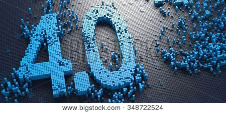 3d Rendering Of Small Blue Boxes Forming The German Word Industrie 4.0 Symbol
