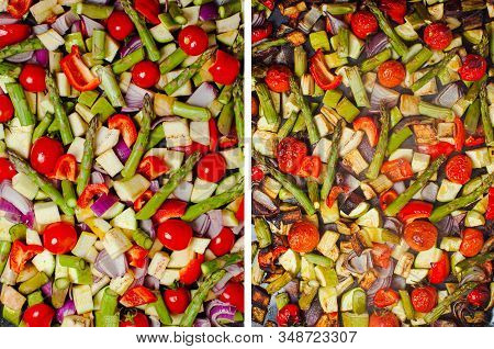 Collage With Fresh Vegetables Background And Hot Roasted Vegetables, Top View. Food Background. Heal