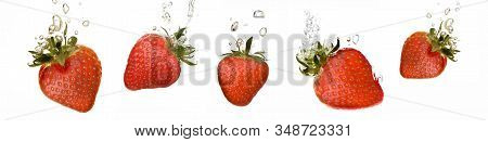 Collection Of Strawberries That Fall Into The Water