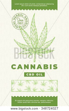 Hemp Cbd Oil Abstract Vector Design Label. Modern Typography And Hand Drawn Cannabis Leaf Sketch Pat