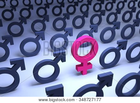 A 3d Illustration Of A Single Pink Female Symbol Stands Out In A Field Of Rows Of Muted Blue Male Sy