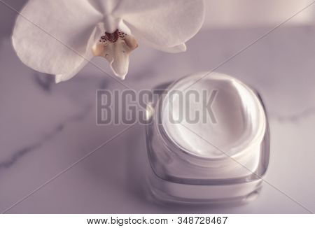 Face Cream Moisturizer Jar And Orchid Flower, Moisturizing Skin Care Lotion And Lifting Emulsion, An