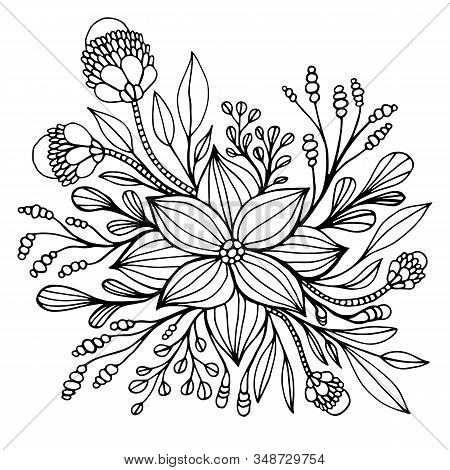 Fantasy Flower Framed By Leaves And Buds Coloring Page. Decorative Elegant Floret Isolated On White