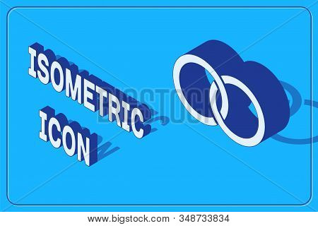 Isometric Wedding Rings Icon Isolated On Blue Background. Bride And Groom Jewelery Sign. Marriage Ic