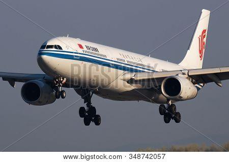 Vienna / Austria - April 18, 2019: Air China Airbus A330-300 B-5919 Passenger Plane Arrival And Land