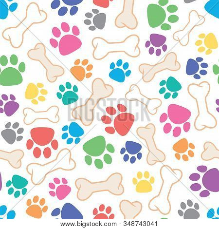 Vector Seamless Dog Pattern With Bone And Dog's Footprint Symbols