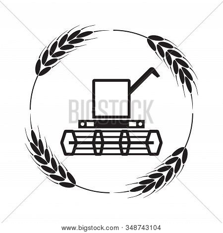 Vector Icon Of Combine Harvester And Wheat Ears, Black And White Agricultural Background, Machinery