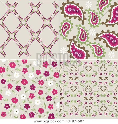 seamless plant patterns with fabric texture