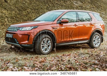 Moscow, Russia - December 20, 2019: Side View Of All New Premium England Suv. Land Rover Discovery S