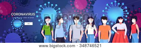 People Group In Protective Masks Epidemic Mers-cov Coronavirus Flu Spreading Floating Influenza Wuha