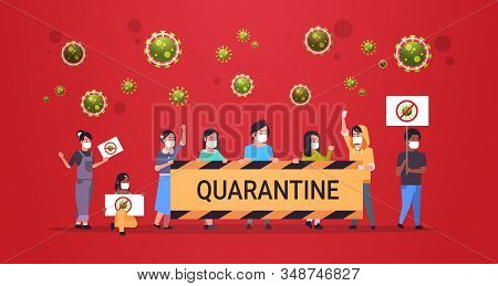 Mix Race People In Protective Masks Holding Stop Coronavirus Quarantine Banners Epidemic Mers-cov Vi