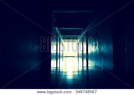 Light At The End Of The Tunnel. The Path To The Afterlife. The Life After Death. Creepy Long Dark Ha