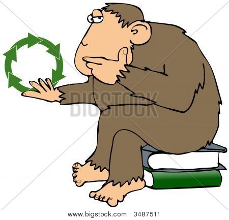 This illustration depicts an ape contemplating a recycling symbol. poster