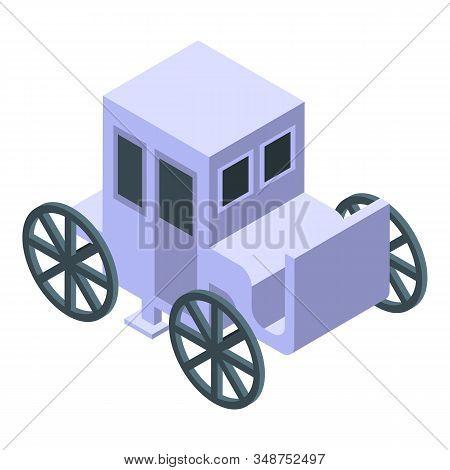 White Wedding Carriage Icon. Isometric Of White Wedding Carriage Vector Icon For Web Design Isolated