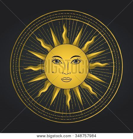 Vector Sun With Face In Occult Circle. Occultism Decoration