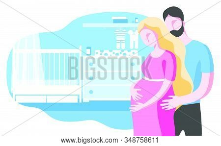 A Pregnant Couple Is Expecting A Baby. Illustration On The Background Of The Childrens Room. A Pregn