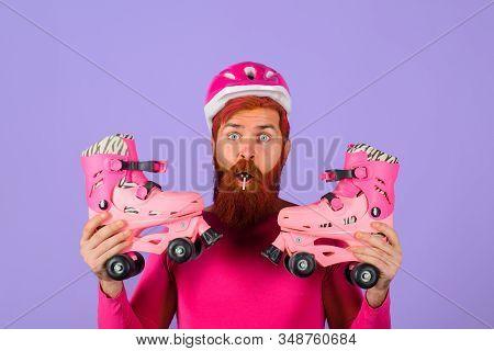 Roller Skater. Rollerblading. Bearded Man With Roller Skating. Handsome Man With Roller Skates. Inli