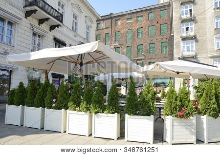 Restaurant In Plaza Of Royal Route In Warsaw