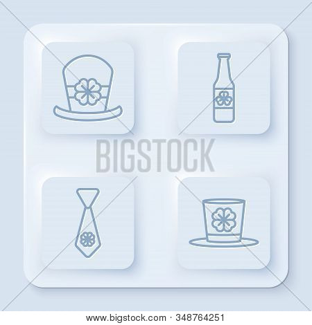 Set Line Leprechaun Hat And Four Leaf Clover, Beer Bottle With Four Leaf Clover, Tie With Four Leaf