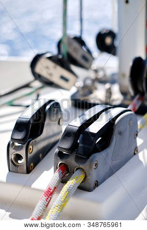 Close Up Of Yacht Rigging Detail, Locking System. Concept Of Adventure, Lifestyle Cruising Or Racing