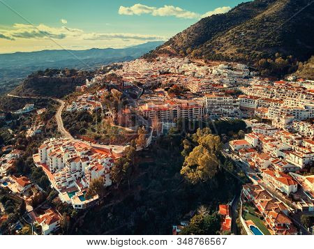 Aerial Photo Distant View Charming Mijas Pueblo, Typical Andalusian White-washed Mountain Village, H