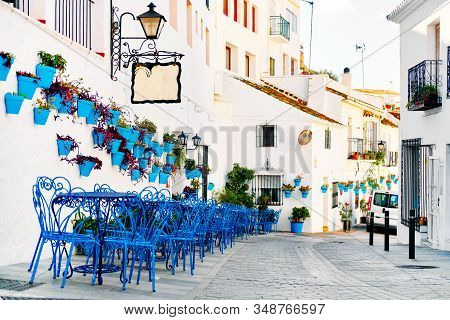 Mijas Pueblo Blanco, Charming Small Village, Picturesque Empty Street In Old Town With Bright Blue T