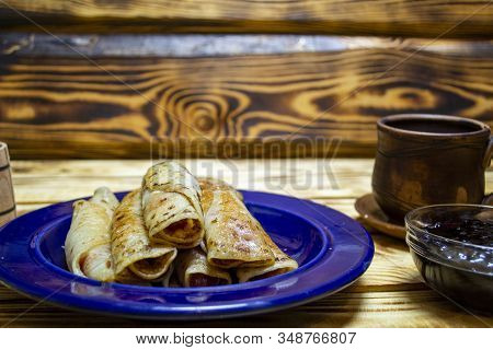 Pancakes With Jam For Shrovetide, 2020 Trend Color,foreground Focus, Selective Focus