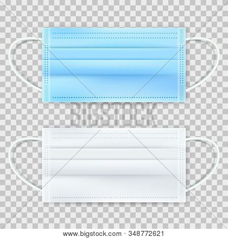 Surgical Protective Blue And White Mask, Isolated On Transparent Background. Vector 3d Realistic Ill