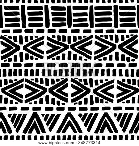 Black And White Seamless Pattern. Geometric Ink Hand-drawn Ornament. Ethnic And Tribal Motifs. Strip