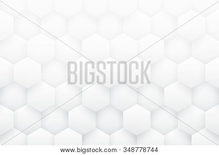 White 3d Hexagons Minimalist Abstract Background. Science Technology Three Dimensional Hexagonal Blo