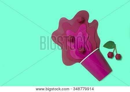 Paper Cup With Spilled Cherry Juice. Bursts Of Juice Spread In Layers With Cherry Berries. Paper Cra