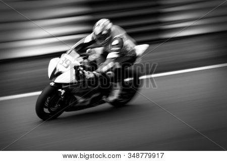 Motion blur motorcycle at speed