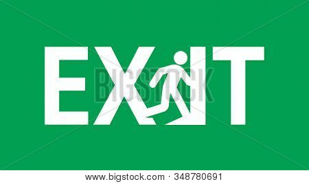 Emergency Exit Door Sign Vector Illustration.service Icon Of Evacuation. Direction To Doorway On Gre