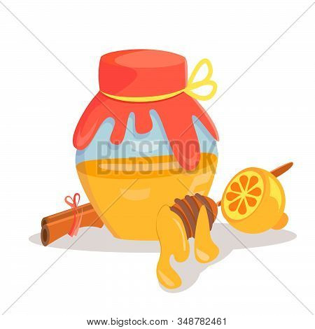 Jar Of Honey With Wooden Drizzler And Lemon. Vector Illustration. Design For Juice, Tea, Cosmetics,
