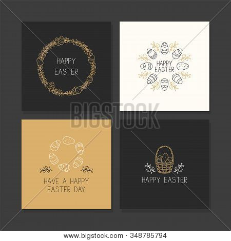 Hand Drawn Easter Greeting Card Collection. Collection Of Hand Drawn Easter Card Templates With East