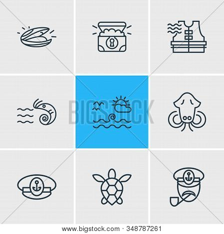 Vector Illustration Of 9 Naval Icons Line Style. Editable Set Of Captain, Cuttlefish, Captains Cap A