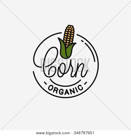 Corn Maize Logo. Round Linear Logo Of Corn