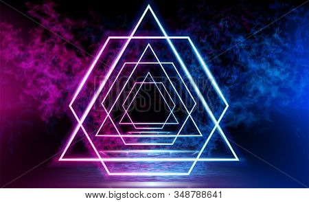 Dark Space, Reflection Of Blue And Pink Neon Light On A Tiled Floor. Neon Sign In The Center. Rays O