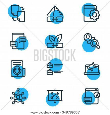 Vector Illustration Of 12 Advertisement Icons Line Style. Editable Set Of Fresh Content, Press Relea