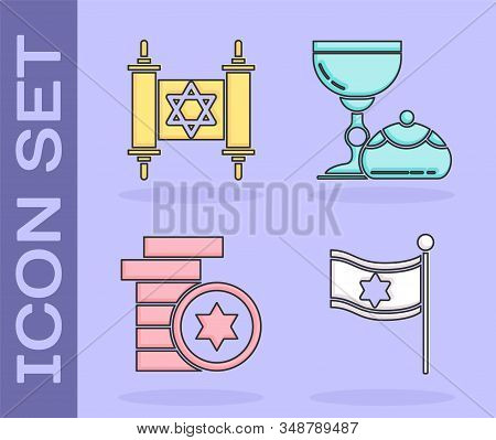 Set Flag Of Israel, Torah Scroll, Jewish Coin And Jewish Goblet And Hanukkah Sufganiyot Icon. Vector