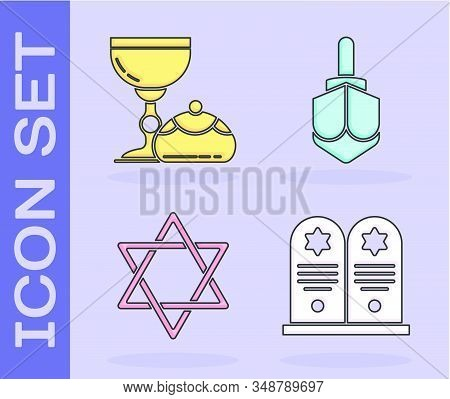 Set Tombstone With Star Of David, Jewish Goblet And Hanukkah Sufganiyot, Star Of David And Hanukkah