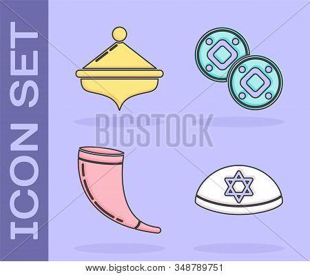 Set Jewish Kippah With Star Of David, Hanukkah Dreidel, Traditional Ram Horn, Shofar And Jewish Coin