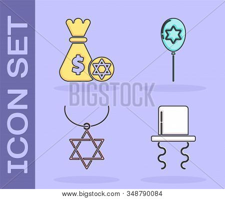 Set Orthodox Jewish Hat With Sidelocks, Jewish Money Bag With Star Of David And Coin, Star Of David