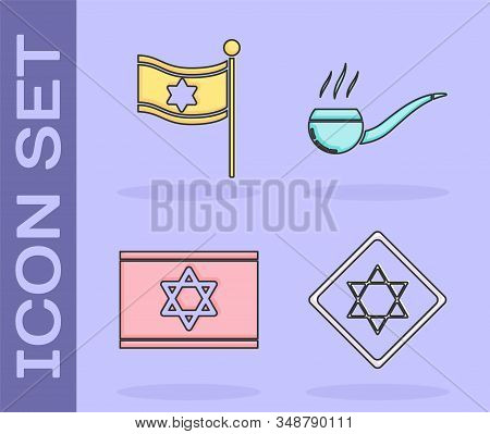 Set Star Of David, Flag Of Israel, Flag Of Israel And Smoking Pipe With Smoke Icon. Vector