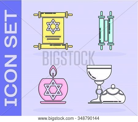 Set Jewish Goblet And Hanukkah Sufganiyot, Torah Scroll, Burning Candle In Candlestick With Star Of