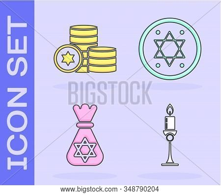 Set Burning Candle In Candlestick, Jewish Coin, Jewish Money Bag With Star Of David And Jewish Coin