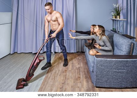 The Male Striptease Performer Portrays A Cleaner At A Hen Party In A Residence Hall Of University, T
