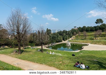 Florence, Italy - 26, March, 2016: Horizontal Picture Of Cityscape Gardens Of The Boboli Gardens In