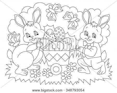 Black And White Page For Baby Coloring Book. Illustration Of Cute Rabbits Bringing Easter Eggs. Prin